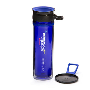 "WOW GEAR ""UNITED IN MOVEMENT"" Spill Free Insulated Water Bottle - Indigo Blue, 20 OZ / 600 ml"