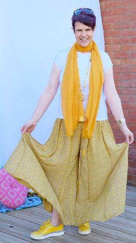 Ione	wide leg upcycled drawstring silk trousers from the Boho Collection by Rock Those Frocks