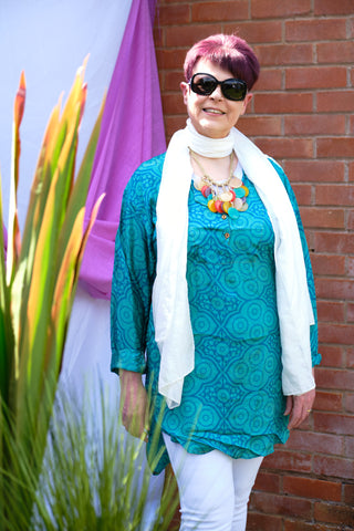 Jessamyn day to night upcycled silk tunic from Rock Those Frocks