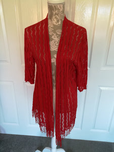 Red Longline Cardigan - one size 10/18