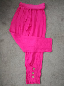 Linen Button Trousers - Hot Pink - one size 10/16