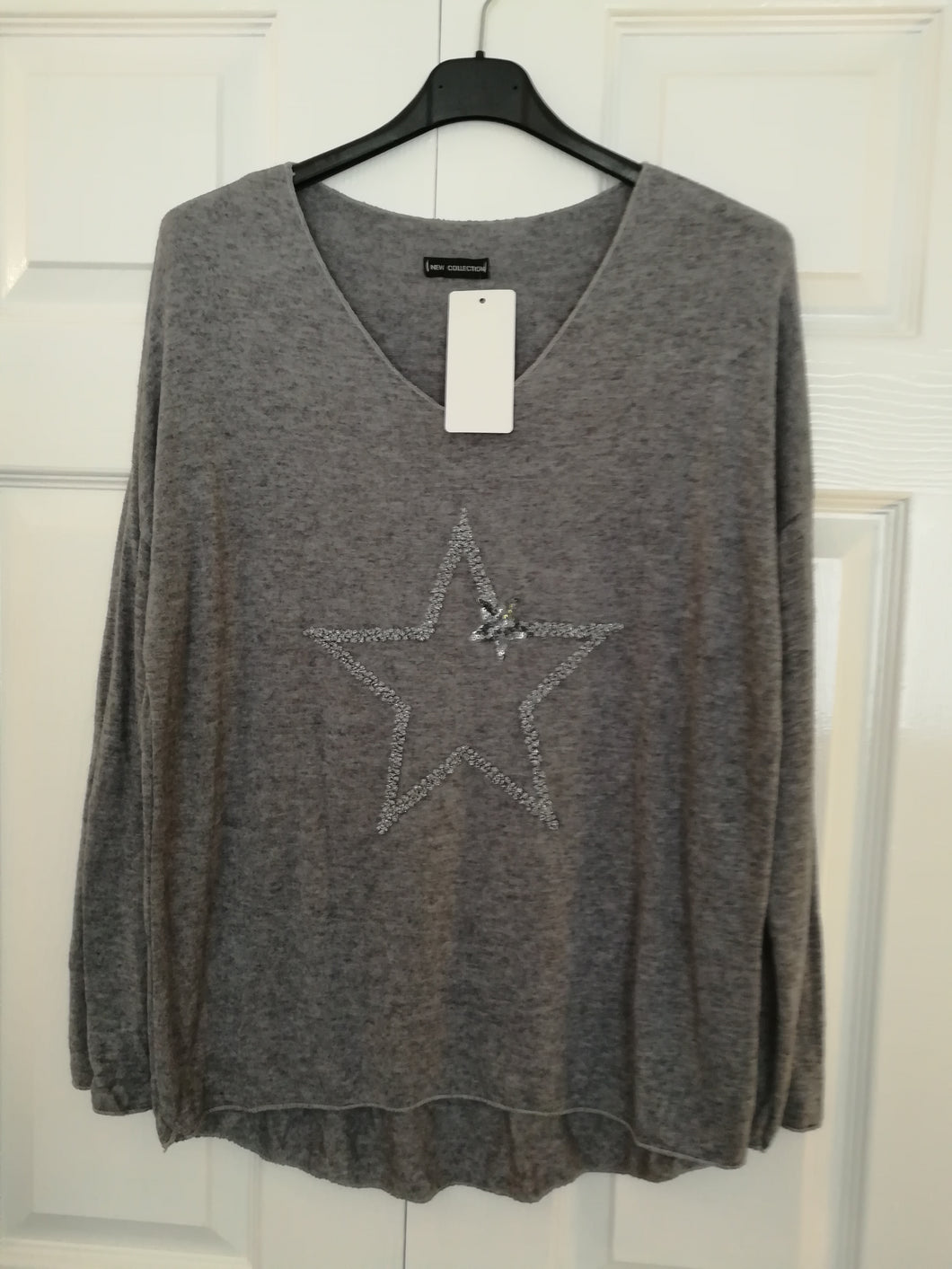 Grey Light Knit Star Top - one size 10/14 £27