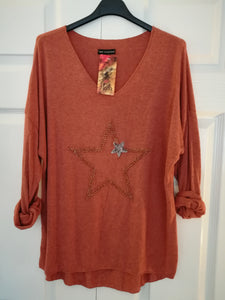 Rust Light Knit Star Top - one size 10/14 £27