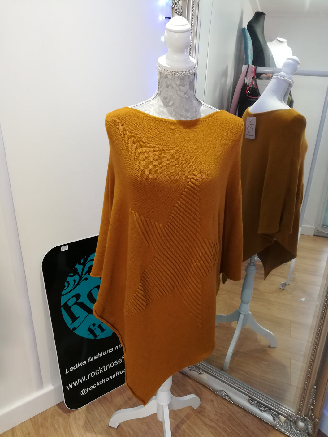 Mustard Star Poncho one size £26