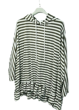 Load image into Gallery viewer, Striped Frilled Hooded Cotton Top - one size 16/22 £28