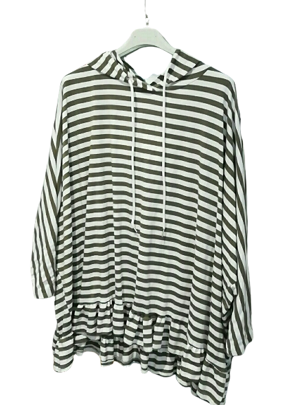 Striped Frilled Hooded Cotton Top - one size 16/22 £28