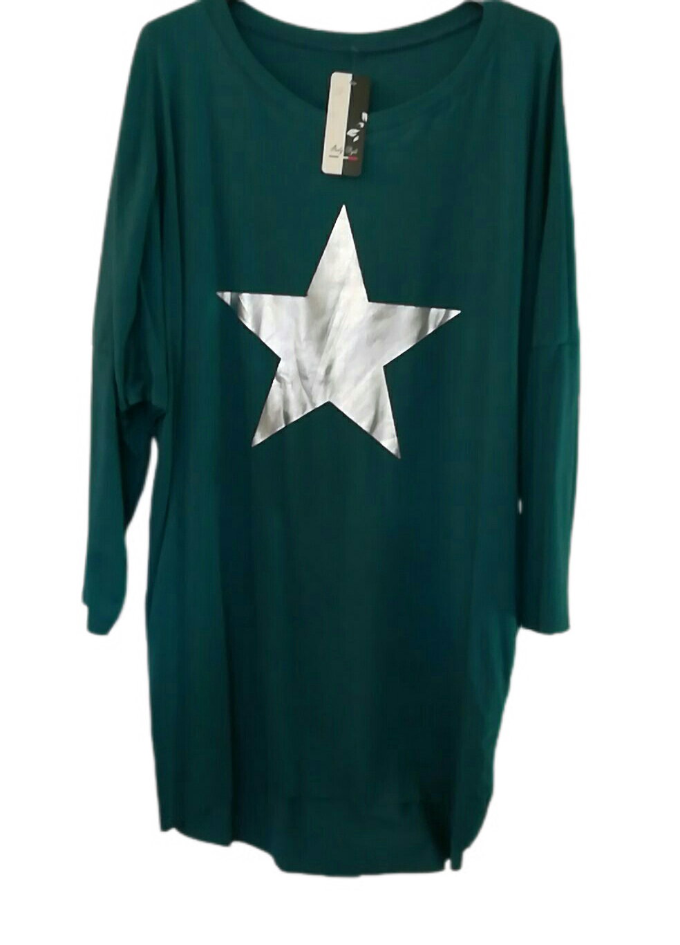 Teal Star Slouch Top - one size to a 20 £20