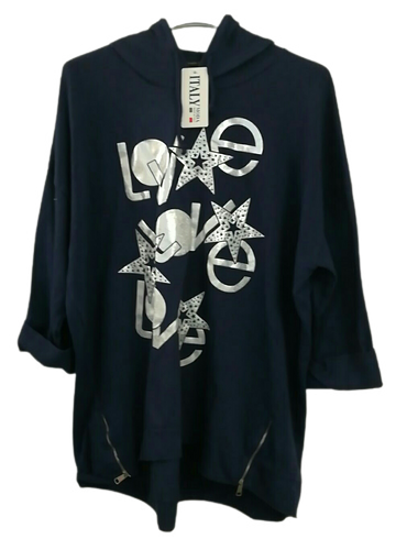 Triple Love and Zip Hooded Top one size 16/18 £25
