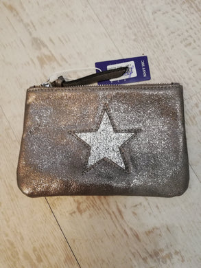 Pewter star small clutch bag