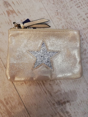 Cream star small clutch bag