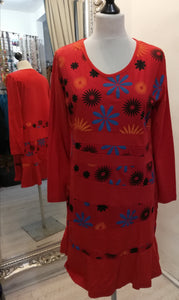Coline Red Pattern Dress size XL (14/16)