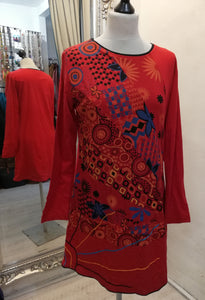 Coline Red Tunic Dress size L (12)
