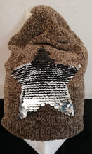 Load image into Gallery viewer, Hat beige with sequin star SALE PRICE £10 NO RETURN