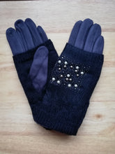 Load image into Gallery viewer, Navy gloves with fingerless pearl cover