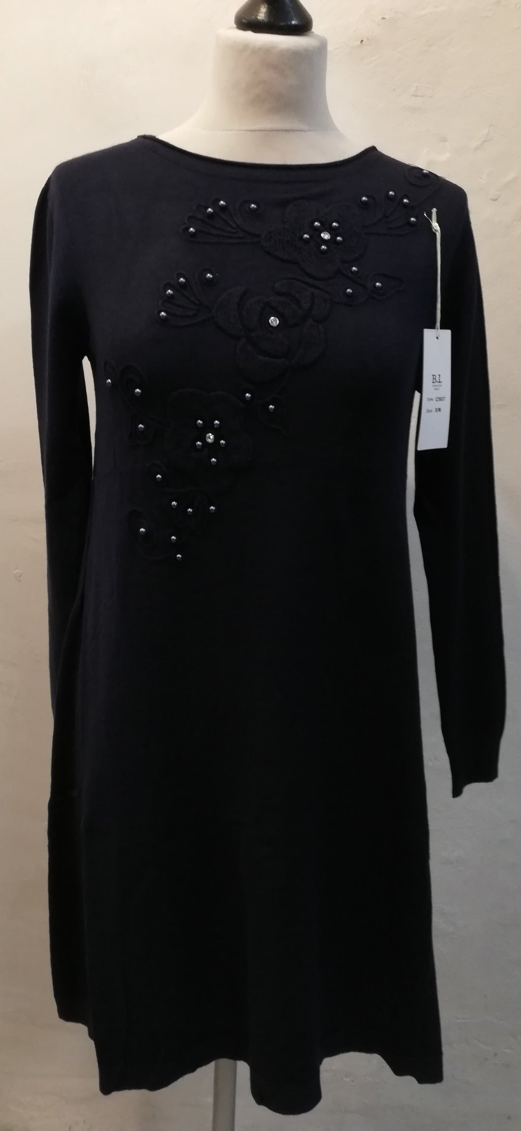 Jumper Dress with pearl detail S/M (10-16)
