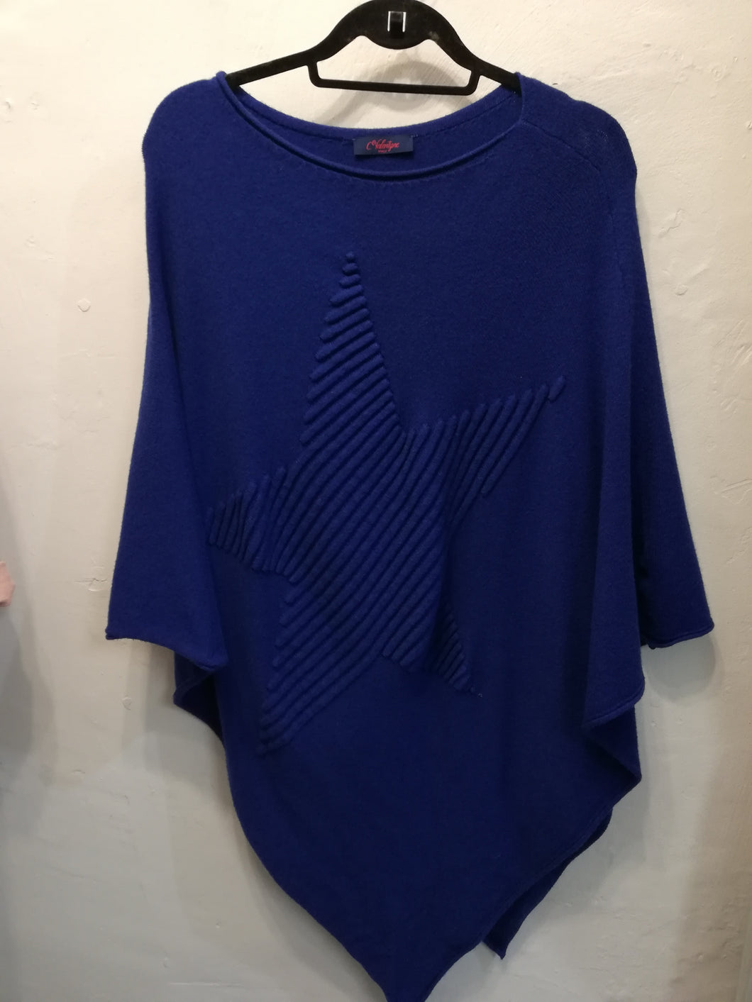 Electric blue star poncho one size SALE NO RETURN