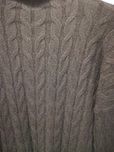 Load image into Gallery viewer, Grey cable knit turtle neck jumper one size 12/16  SALE NO RETURNS