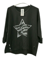 Load image into Gallery viewer, Star Sweatshirt Top with Zip Detail - one size 16/18 £25 SALE PRICE £18 NO RETURN
