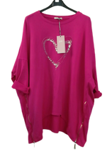 Load image into Gallery viewer, Sparkle Heart Sweatshirt top with zips -ne size 16/20 £25
