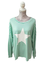 Load image into Gallery viewer, Striped Top with Star Detail - one size to a 16 £25