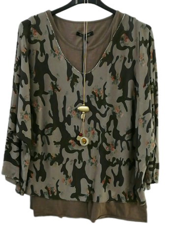 Two Part Top in Camo/Floral one size 10/16 £25