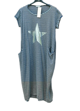 Load image into Gallery viewer, Candy Striped Dress with Silver Star and Pockets one size to a 14 £25