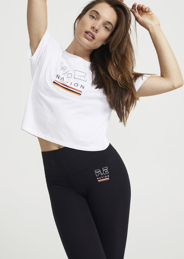 P.E. Nation Ignition Cropped Tee Shirt White