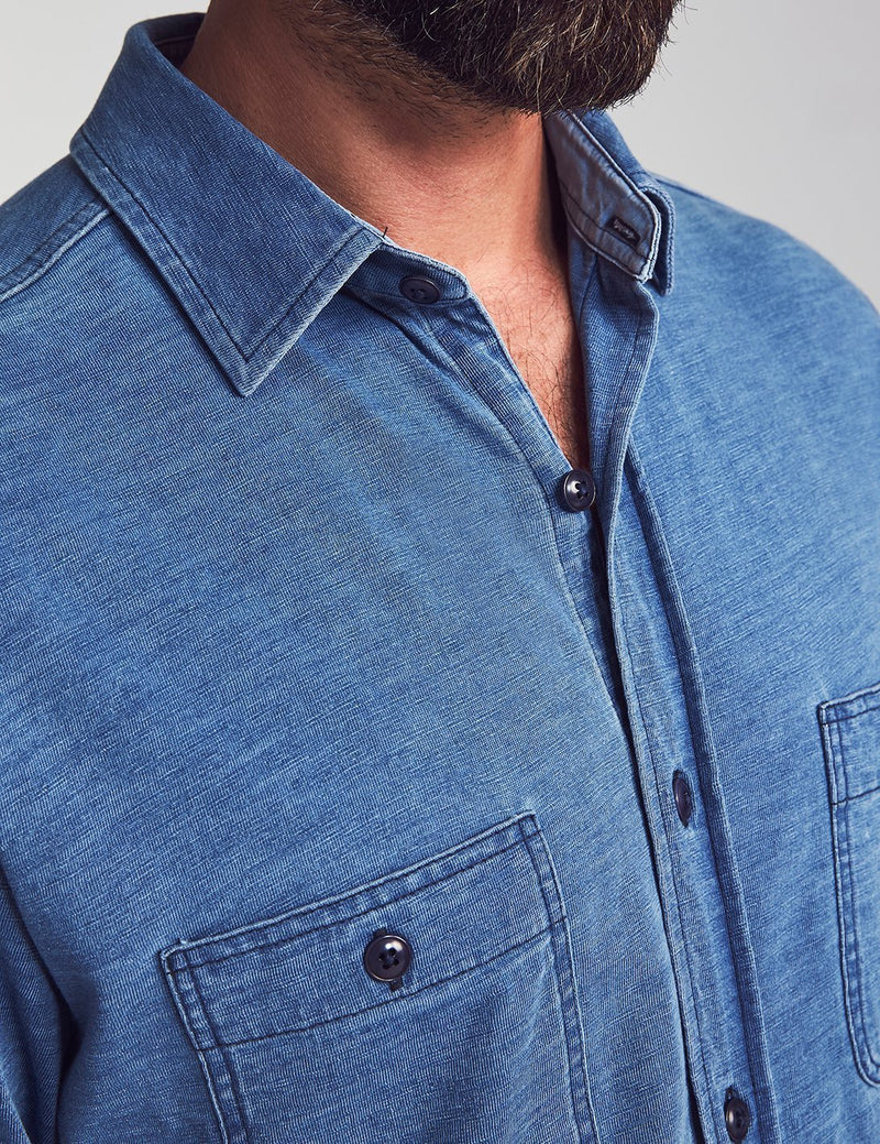 Faherty Knit Seasons Shirt Indigo Blue