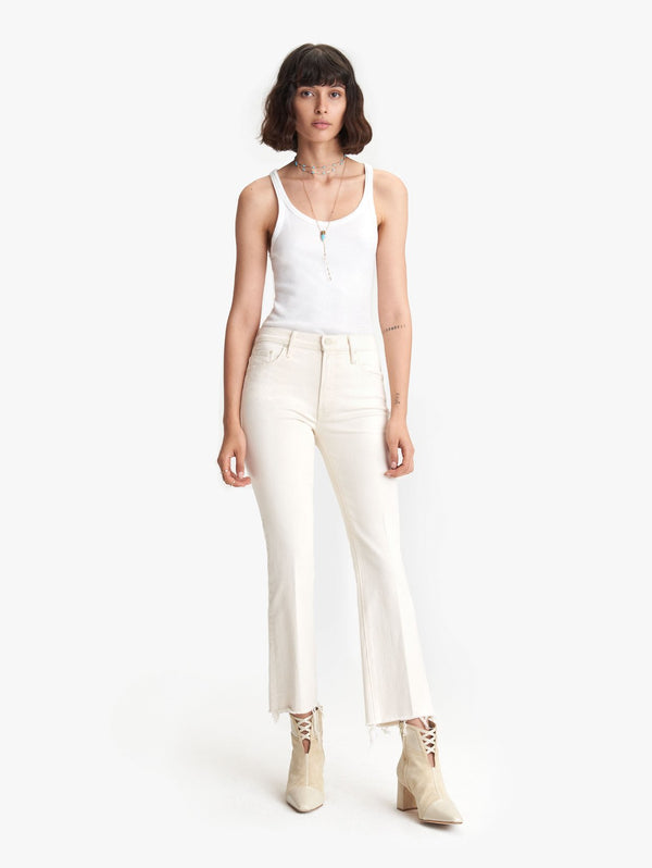 Mother Denim Insider Ankle Fray Jeans Cream Natural