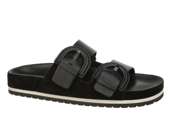 VInce Glyn Buckle Slide Sandals Black