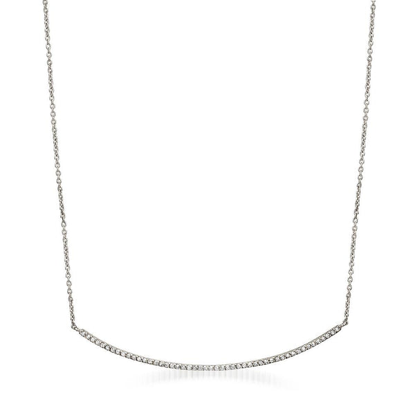 Liven Long Diamond Bar Necklace White Gold