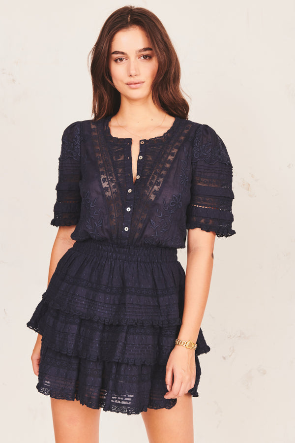 Loveshackfancy Quincy Dress Navy