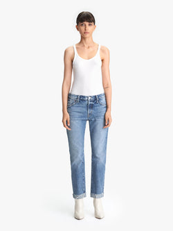 Mother Denim Scrapper Cuff Ankle Fray Jeans