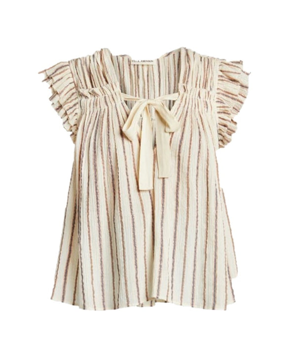 Bria Metallic Stripe Top
