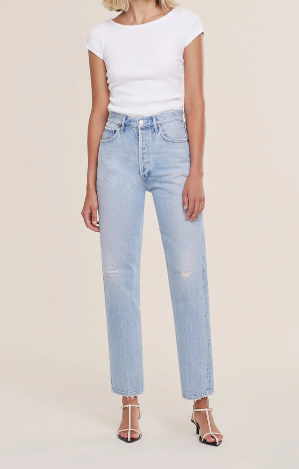 90's Pinch Waist High Rise Straight Jean