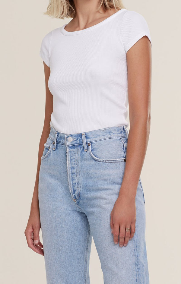 90's Organic Cotton Scoop Neck Rib Tee