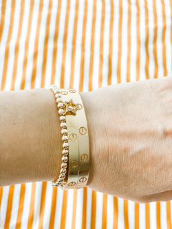 4MM Gold Ball Bracelet w/ Pave Open Star