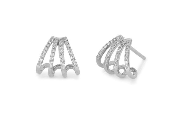 14k Diamond Multi Huggie Earring
