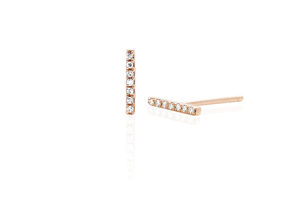 14k Diamond Mini Bar Stud Earring