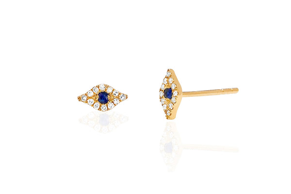14k Mini Diamond Evil Eye Stud Earring