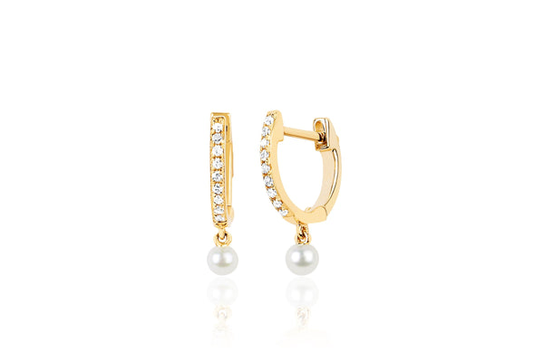 14k Diamond Mini Huggie With Pearl Drop Earring