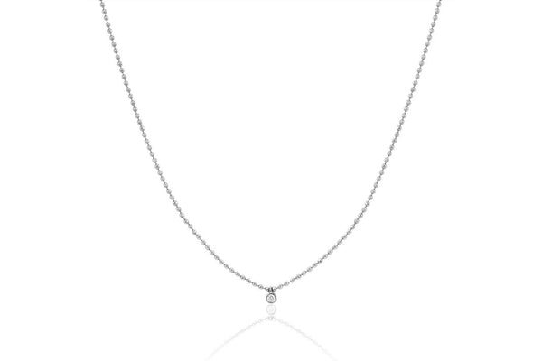 14k Single Diamond Bezel Faceted Chain Necklace