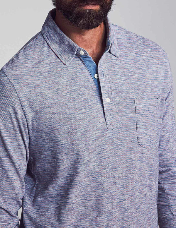 Long Sleeve Indigo Polo