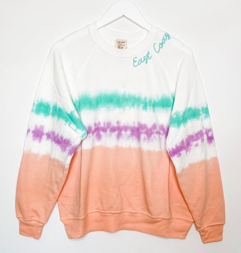 Coachella Tie Dyed East Coast Embroidered Sweatshirt