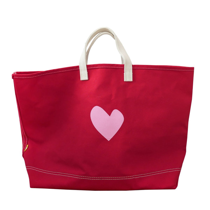 Imperfect Heart Canvas Beach Tote