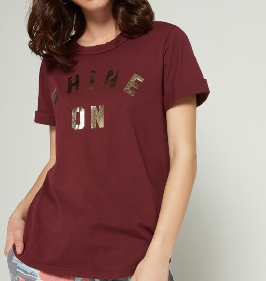 Shine On Rolled Crew Neck Tee