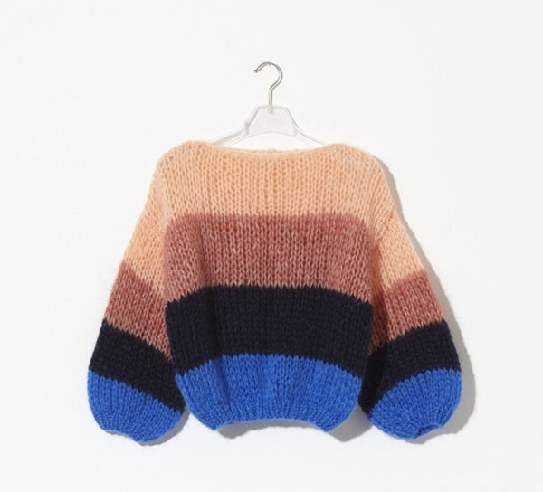 Mohair Color Block Big Sweater