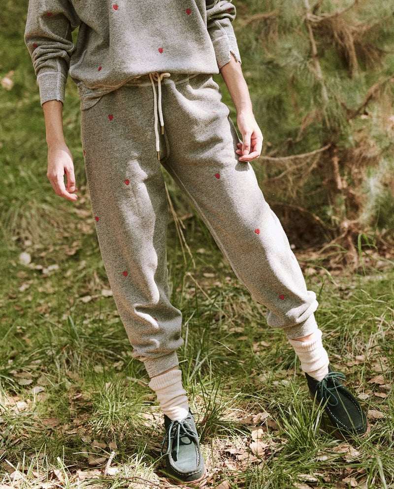 The Cropped Sweatpant With Heart Embroidery