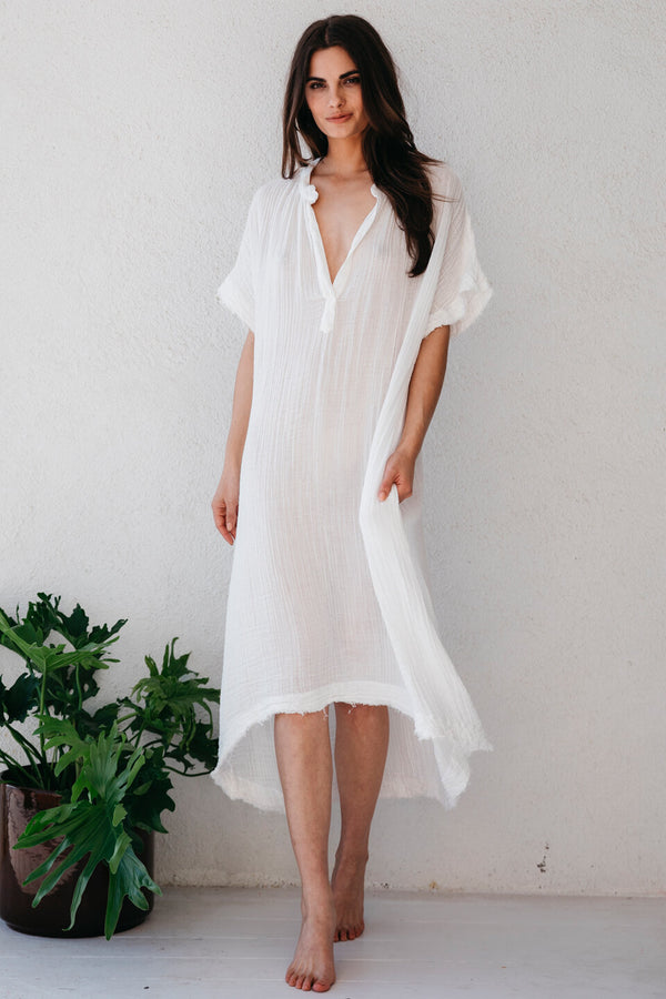 Tunisia Lightweight Cotton Gauze Short Sleeve Caftan