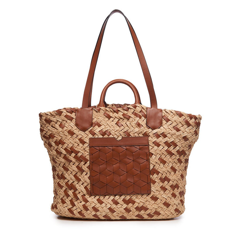 Welden Plage Woven Tote Cafe Brown